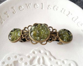 Gemstone barrette Best gifts for her Bridesmaid hair clip pin Boho hair barrette Raw peridot crystal accessory Green hair jewelry Nature