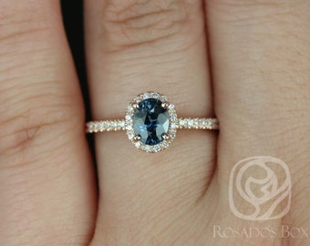 Rosados Box Federella 0.90cts 14kt Rose Gold Oval Teal Blue Sapphire and Diamonds Halo Engagement Ring