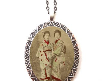 Geisha Twins Necklace Pendant Silver Tone - Japanese Japan Asian Art Portrait