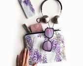 Wisteria Portfolio clutch bag  waterproof wash bag travel zipper bag beach bag wisteria print make up bag cosmetics bag clutch bag