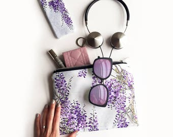 Wisteria Portfolio clutch bag - waterproof wash bag, travel zipper bag, beach bag, wisteria print make up bag, cosmetics bag, clutch bag