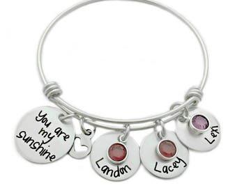 Personalized You Are My Sunshine Bracelet - Engraved Jewelry - Expandable Bangle - Kids Names - Personalized Bangle Bracelet - Mom - 1047