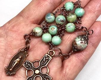 Catholic Tenner, Pocket Rosary, Pocket Tenner, Celtic Copper Cross, Arctic Terra Agates, Catholic, Christian Gifts, Prayer Beads,Irish Gifts