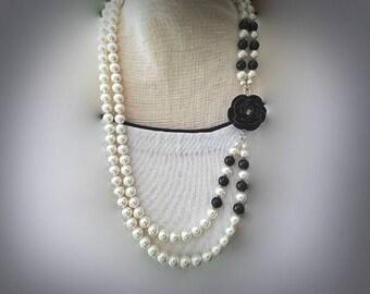 multi strand white black Swarovski pearl black flower necklace black and white pearly necklace nature inspired necklace double strand