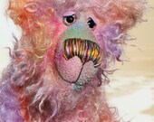 Cezanne is a gentle, elegant and delicately colourful, one of a kind, hand dyed mohair, shaggy artist bear by Barbara-Ann Bears