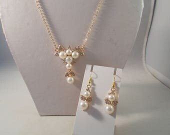 Gold Tone, White Sea Shell Pearls and Clear Rhinestones Pendant on a Gold Chain with Matching Earrings