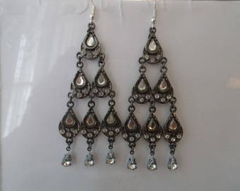 Silver Tone Teardrop Dangle Earrings with Clear Crystal and Rhinestone Beads
