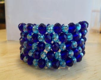 5 Row Memory Wire Cuff Bracelet with Navy Blue and Aqua Crystal Beads