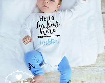 Newborn Boy Coming Home Outfit, Baby Boy Newborn, Personalized Newborn Take Home Outfit, Newborn Boy Outfit I'm New Here Baby Baby Boy Gift