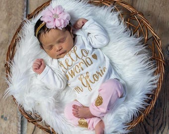 Newborn Girl Personalized Outfit,  Hello World Newborn Girl Outfit, Baby Girl Clothes Newborn Girl Coming Home Pink Gold Leg Warmer Headband