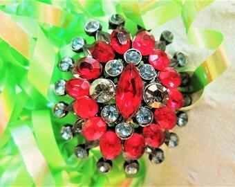 Red Rhinestone Crystal Brooch Smoky Aurora Borealis Vintage Jewelry Gift Special Occasion Birthday