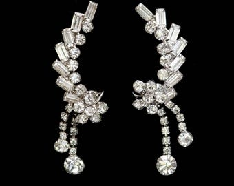 Vintage Ear Climber Earrings Drop Earrings Dangle Earrings Rhinestone Earrings