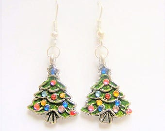 Christmas Tree Earrings, Christmas tree charm, Christmas jewelry, Christmas Jewellery, Xmas earrings, Christmas Earrings, Christmas gift