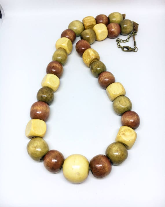 Round And Squared Natural Wooden Beaded Necklace on Faux Suede Cord With Adjustable Clasp