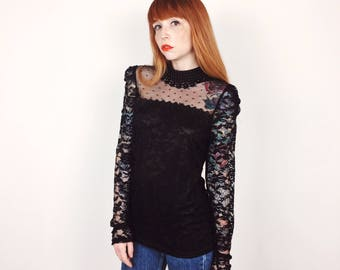 Sheer Victorian Black Lace Long Sleeve Blouse // Women's size Medium M