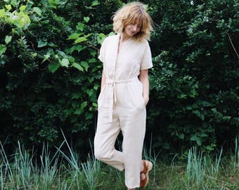 Kimono Jumpsuit in Ivory Linen - Short Sleeve Kimono Linen Jumpsuit - Women Linen Overall - Ivory Linen Playsuit - Handmade by OFFON