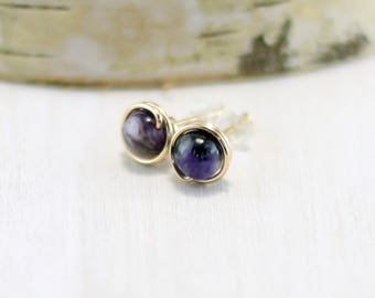 Charoite Stud Earrings, 14k Gold Filled Purple Gemstone Earrings Yellow Gold Charoite Post Earrings Charoite Jewelry