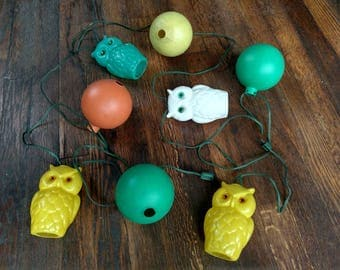 Vintage Owl String Lights, Large Molded Plastic Outdoor Lighting for Camper or Patio, Yellow Orange and Green 1970s 70s