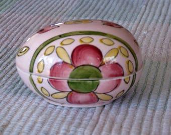 Vintage Enesco Ceramic Floral Egg Trinket Box