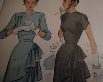 SALE Vintage 1940's McCall 7345 Dress Sewing Pattern, Size 16 Bust 34