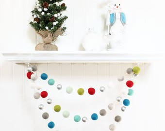 Felt Ball Garland with Silver Beads, Pom Pom Garland, Christmas Party Decor,  Red Blue Green White & Silver, Winter Decor, Christmas Garland