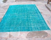 RESERVED for Max - 7 by 10 / FREE SHIPPING / Vintage Overdyed Oushak Rug / Vintage Rug / Distressed / Turqoise / Boho Rug - 122 in x 83 in