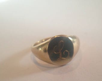 Antique Hand Engraved 10K Gold Filled Signet Ring with Monogrammed Initial L  His or Hers Ring Size 6