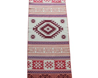 Long Kilim Runner - New Reversible Long Turkish Kilim Runner Rug in Orange, Maroon and Red - 246cm