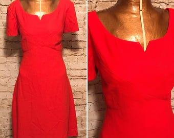 Vintage 1990s Lipstick Red Liz Claiborne Dress // 90s A-line Mini Dress // size medium M