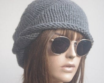 Womens Hats  gray  chemo Hat beret Hat  Women Hat cable   Slouch Beanie Cable Women Hat Oversized Hat Cable Hat Chunky Knit Hat