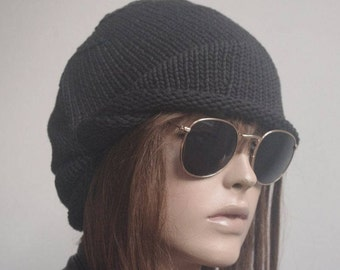Womens Hats  chemo Hat COTTON black  beret Hat  Women Hat cable  Slouch Beanie Cable Women Hat Oversized Hat Cable Hat Chunky Knit Hat