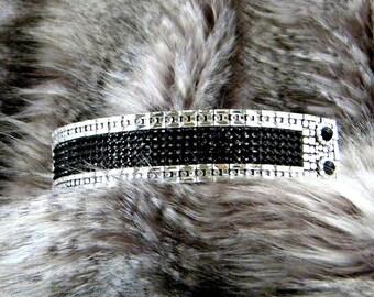 """Napoleon French Cuff Leather Bracelet Custom Jewelry 1.5"""" Wide w/ Swarovski Crystal Rhinestone Dinner Cocktail Wrist Wrap Costum Accessory"""