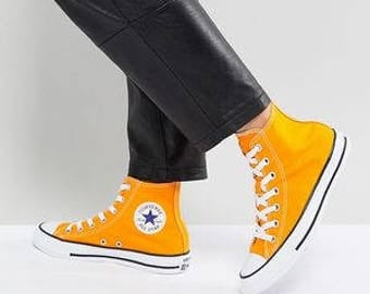 Yellow Converse High Top Orange Sun Ray Canvas Custom Wedding w/ Swarovski Crystal Rhinestone Bling Jewel Chuck Taylor All Star Sneaker Shoe