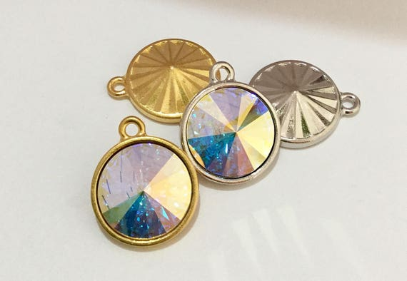Custom Antique Silver or Gold tone drop Pendant Focal Charm w/ Swarovski Crystal AB Iridescent Rivoli gem 18mm Rhinestone Round Ladies Gift