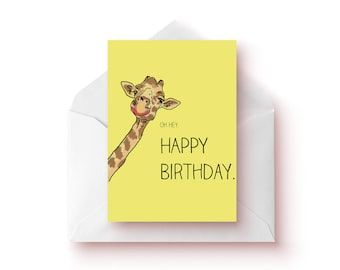 Funny Illustrated Giraffe Birthday Card