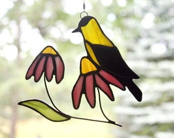 Goldfinch and Coneflowers Stained Glass Suncatcher, Bird Sun Catcher, Stained Glass Bird, Glass Art