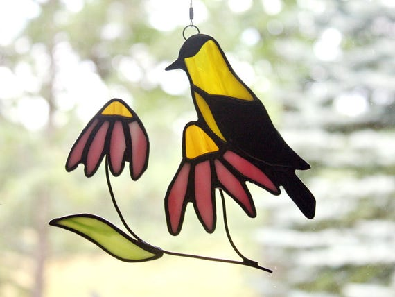 Goldfinch with Coneflowers Stained Glass Sun Catcher