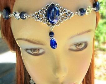 Lapis Gemstone Circlet, Deep Blue Celtic Circlet