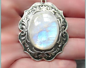 Rainbow Moonstone Pendant, Antique Silver Setting, Large Moonstone Necklace, Shiny Soldered Chain, One of a Kind