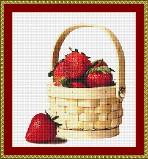 Basket With Strawberries Cross Stitch Pattern /Digital PDF Files /Instant downloadable