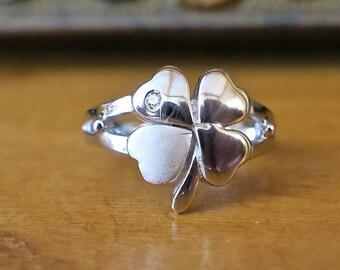 SALE Vintage 925 Sterling Siver 4 Leaf Clover Ring