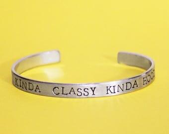 Kinda Classy Kinda Hood Bracelet, Hip Hop Gangsta Jewelry, Classy But I Cuss, Pop Culture Quote