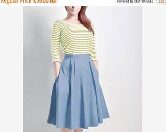 JULY 20 OFF Steel Blue Skirt, Midi skirt, Flared Skirt, Cotton Sateen skirt with Pockets