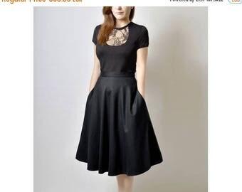 JULY 20 OFF Midi Skirt, High Waisted Midi Skirt, Black Flared Skirt, 50s Skirt