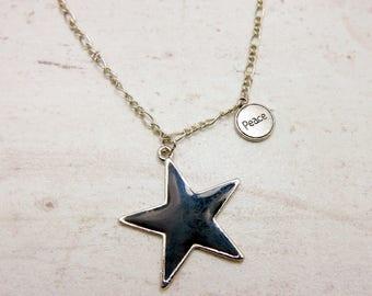 Black star Necklace, Jet Black, rockstars necklace