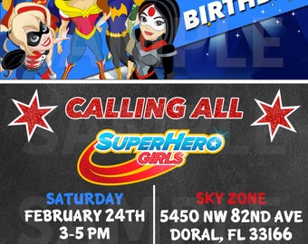 Girls SuperHero Birthday Invitation -DIY Printable Tags