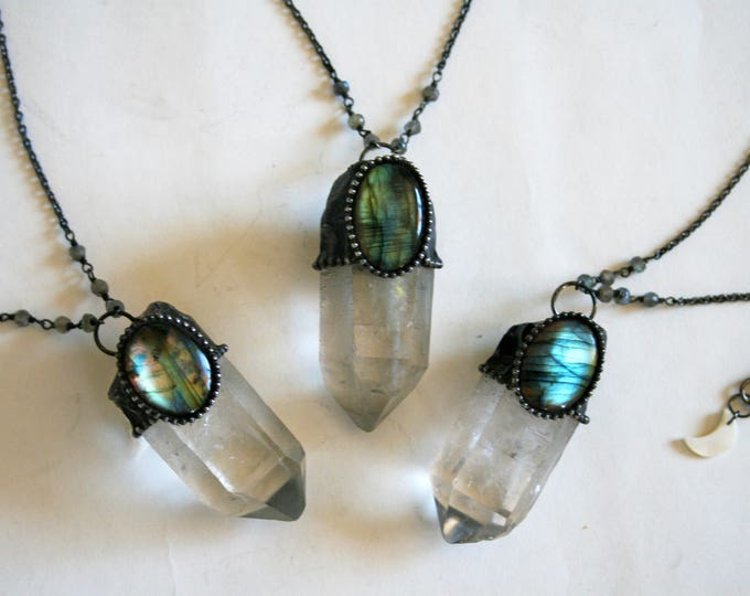 Quartz Point with Labradorite Round Stone Necklace - Large // Clear White Crystal with Labradorite Statement Necklace