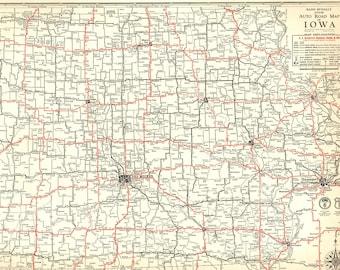 Iowa Map Etsy - Iowa road map