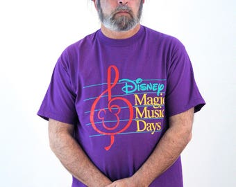 Vintage 90s Disney T-shirt, Disney Music T-shirt, Disney Magic Music Days T-shirt, Royal Purple Disney Tee, L