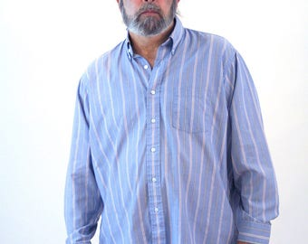 80s Preppy Shirt, Preppy Striped Shirt, Striped Blue 80s Button Down Cotton Poly Long Sleeve Shirt, Cambridge Hall, XL